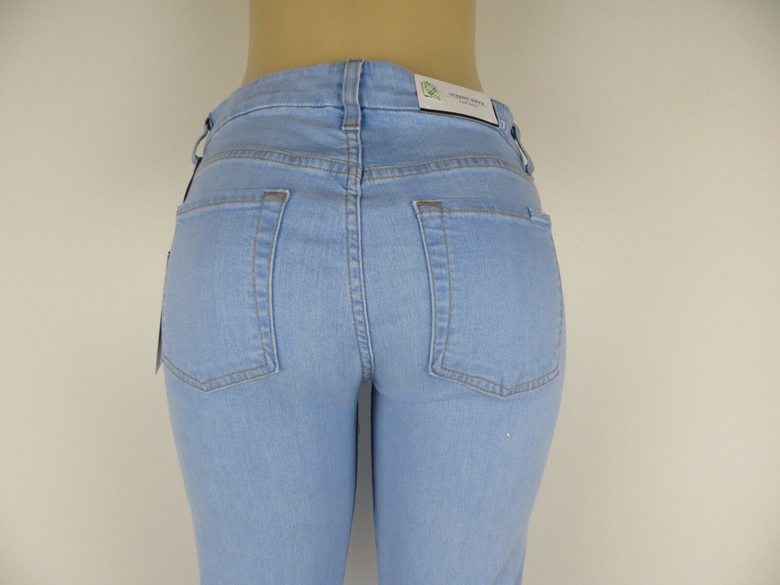 NWT 7 SEVEN FOR ALL MANKIND JEANS,The Cropped Skinny,Bleached Aqua Marine27, 198