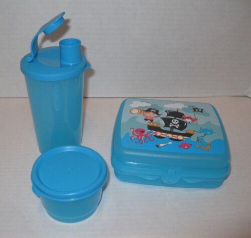 TUPPERWARE ~ SEASIDE FUN LUNCH SET ~ PIRATES sandwich keeper snack cup tumbler