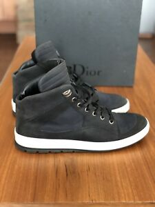 cd0b7880a95 Image is loading Dior-Homme-Black-Calfskin-amp-Canvas-High-top-