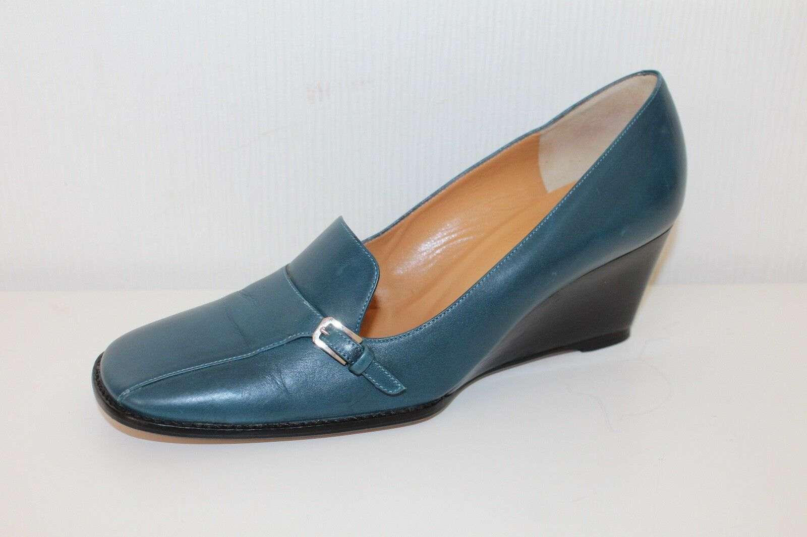 BALLY Donna Scarpe in pelle PUMPS Zeppa Zeppa Slipper Turchese 36.5 uk3, 5 shoes