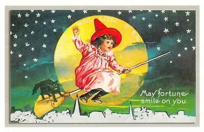 repro vintage postcard HALLOWEEN WITCH BLACK CAT BROOM Pleiades Press p200 NOS