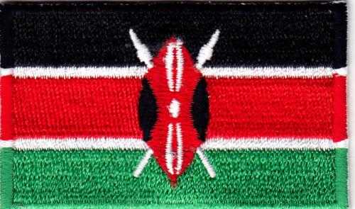 "- FLAG OF KENYA 2 1//2/"" KENYA FLAG Iron On Embroidered Applique Patch"