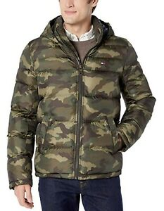 Tommy Hilfiger Men's Olive Camouflage Quilted Puffer ...