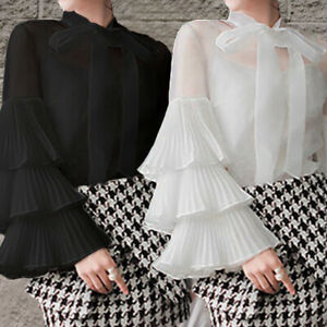Women-Plus-Size-Victorian-Shirt-Long-Puff-Sleeve-Ruffle-Bow-Tie-Blouse-Work-Tops