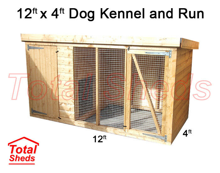 DOG KENNEL AND RUN 12FT x 4FT