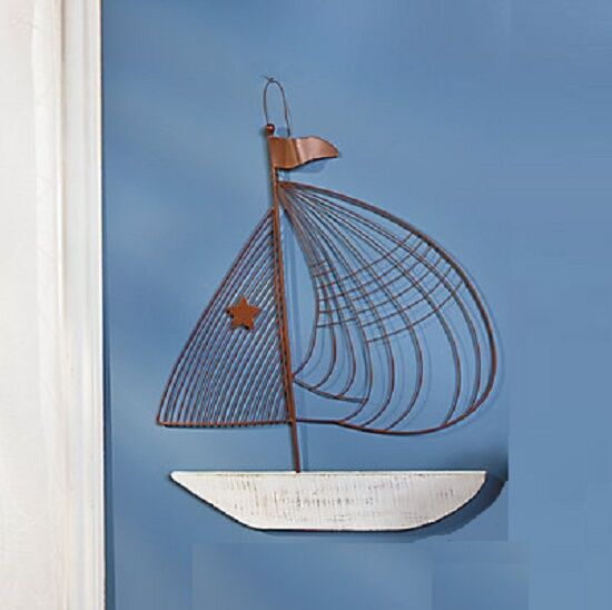 3D Nautical Metal Sailboat Boat Whitewashed Wood Ship Lone Star Wall ...