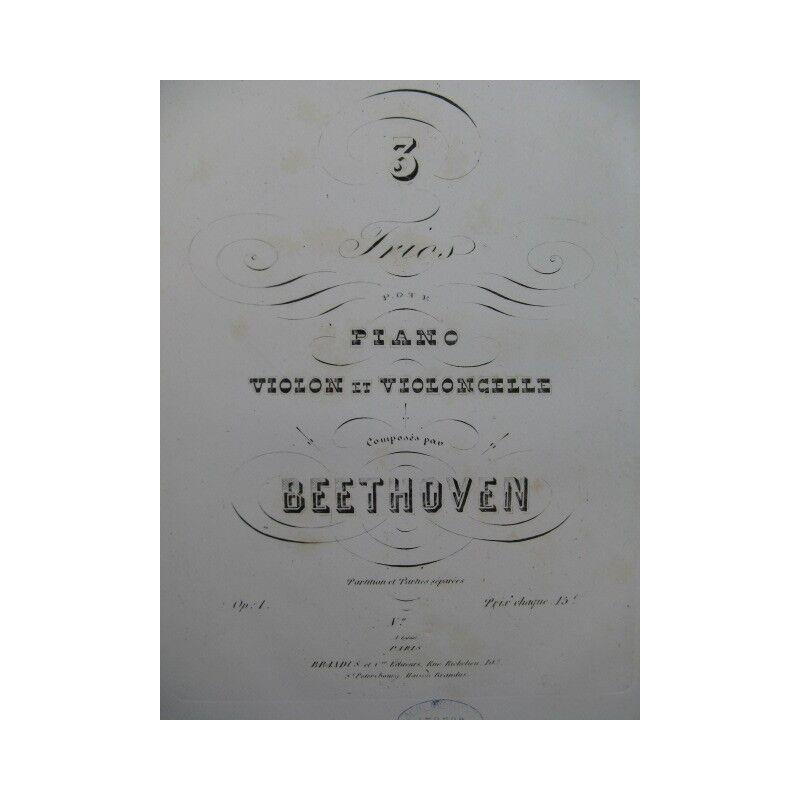 BEETHOVEN Trio op 1 No 2 Piano Violon Violoncelle ca1850 partition sheet music s