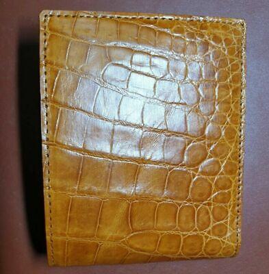 TAN BROWN// GENUINE Alligator,CROCODILE s bally Leather Skin MEN/'S BIFOLD WALLET