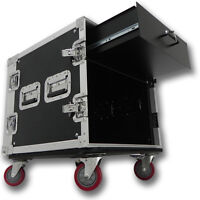10 Space Rack Case With 3u Locking Drawer Amp Effect Mixer Pa/dj Pro Casters on sale