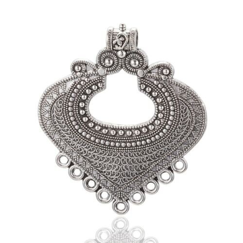 5pcs Tibetan Silver Alloy Carved Heart Chandeliers Links Earring Findings 61mm