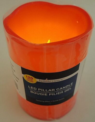 "Flickering LED Wax Pillar Candles 4""H X 3""D 120 Hours 1//Pk Select Color"
