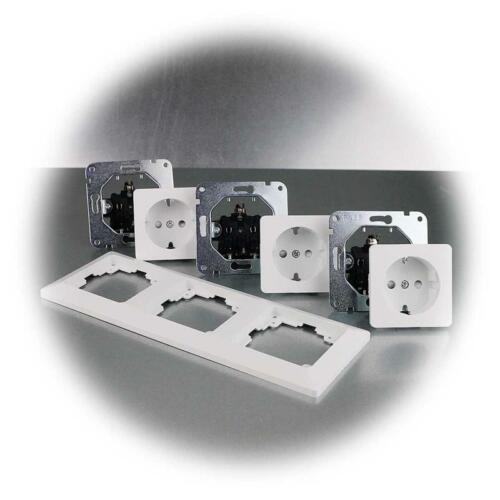 3 positions UP prise de courant Milos tripartite-Protection Contact-Prise Murale Blanc Mat avec cadre