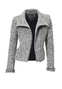 connexion 40 Meilleure Bouclé New Blazer Biker Style Jacket Grey Silver Ladies Gr dwqrCqI