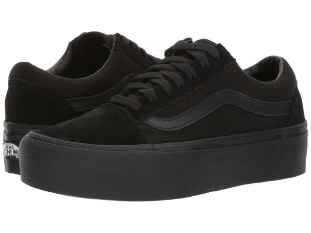 NEW Mens VANS OLD SKOOL PLATFORM SNEAKER Black Black CANVAS Skate Shoes  GENUINE