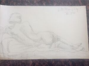 Signed-1938-Lillian-Mingay-Pencil-Drawing-Female-Nude-reclining-Figure-44-1930s