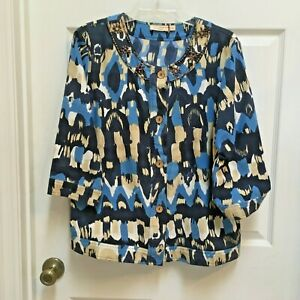 Choices-Ladies-Jean-Jacket-size-Large-Abstract-Blues-3-4-sleeve-Wood-Trim