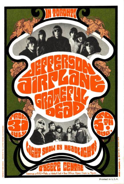 Jefferson Airplane / Grateful Dead 1967 Toronto Concert Poster - 8x10 Photo