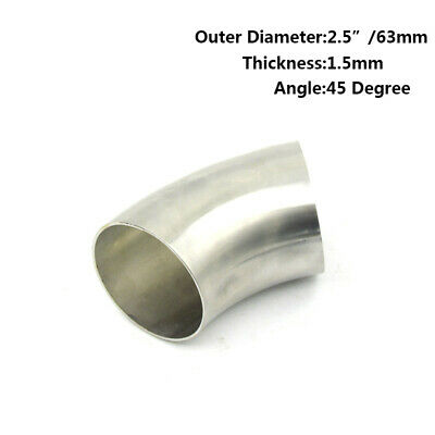 """2.5/"""" inch 63mm 304 Stainless Steel 45 Degree Bend Elbow Pipe Replace Part"""