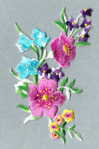 Spring Flowers Embroidered Iron On Applique Patch Multi Group Crafts