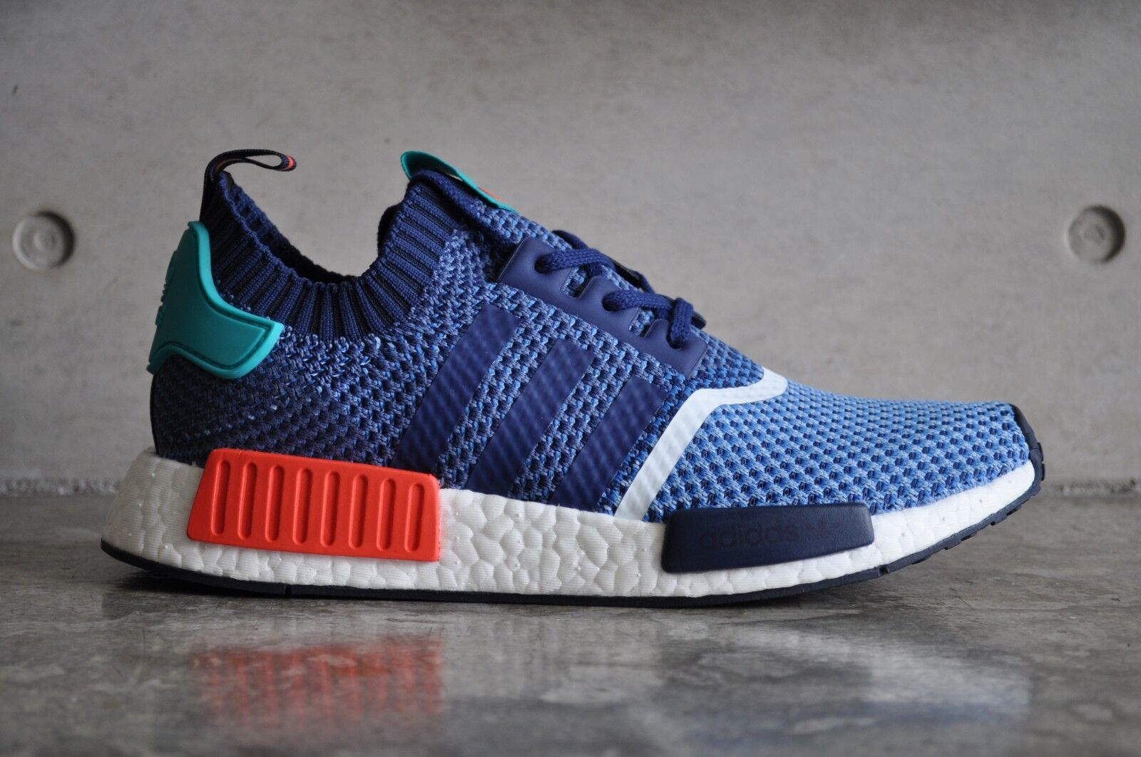 Adidas NMD R1 Primeknit  Packers  - bluee Turquoise-Red 7.5 UK 41 1 3 EUR 8 US