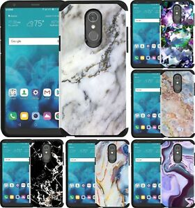 Details about For LG Stylo 4 Case Shockproof Dual Layer Phone Cover Marble  Stone Design