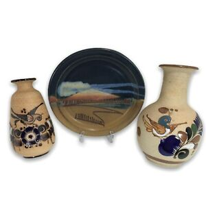 Vtg-MCM-Mexican-Stoneware-Hand-Painted-Tonala-Sand-Pottery-2-Bird-Vases-1-Plate