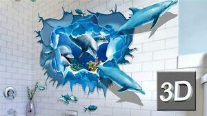 3D Wandtattoo Delfine Badezimmer Kinderzimmer Wandsticker ...