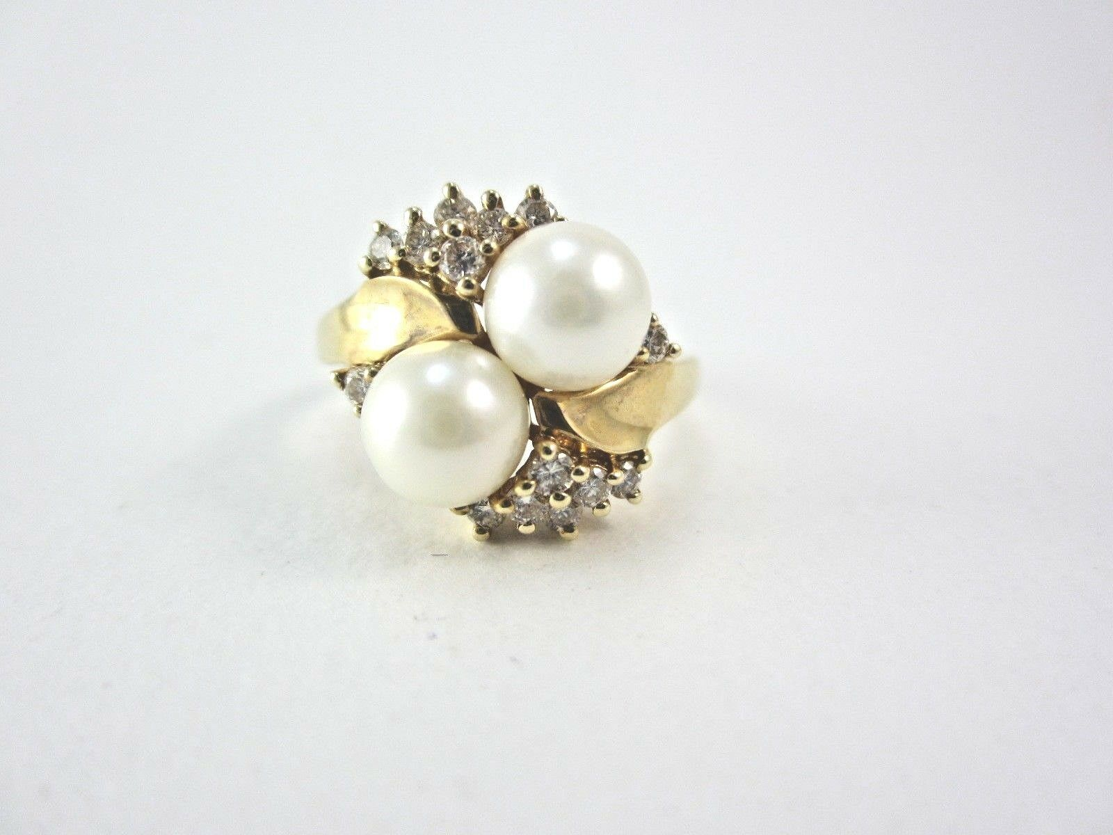 d70e9186d BEAUTIFUL 14K YELLOW gold PEARL AND RING 4.2G DIAMOND LADIES nfktcu974-Pearl