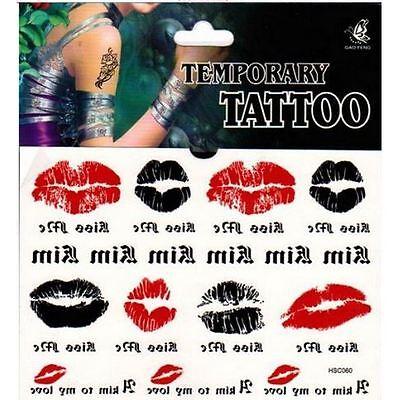 Lot de 10 cartes de Tatouage temporaire lèvre bouche rouge tatouage éphemere