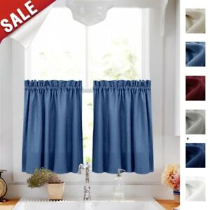 Details about Kitchen Curtains 36 Inches Long Semi Sheer Casual Weave Cafe  Curtains Short