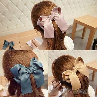 Women Fashion Korean Satin Ribbon Bowknot Hair Clips Barrette Ponytail Holder