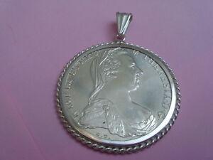 Silber Münze Anhänger Maria Theresia Münze 1780 Sammlerstück 925er