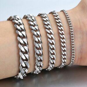 Men-039-s-Bracelets-Stainless-Steel-Silver-Curb-Cuban-Chain-Men-Women-Jewellery-Gift