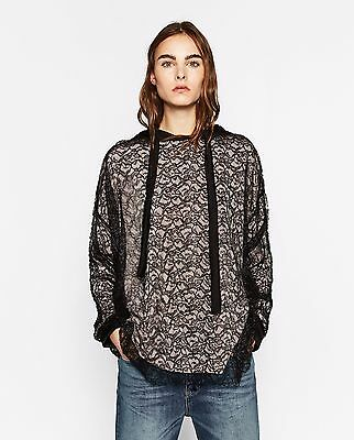 ZARA PLEATED LACE OVERSIZED SWEATSHIRT NWT SZ X-LARGE