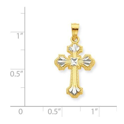 RELIGIOUS JESUS MEN//WOMEN Details about  /10K GOLD TWO-TONE DIAMOND-CUT CROSS CHARM PENDANT