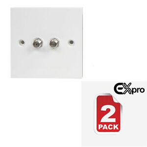 Double-F-Type-Coaxial-Wall-Socket-Plate-TV-NTL-Sky-Virgin-Satellite-2-PACK