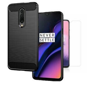 For-OnePlus-7-Case-Carbon-Fibre-Cover-amp-Glass-Screen-Protector