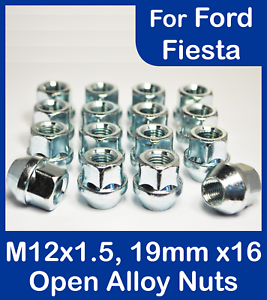 16x-X-1-5-M12-19mm-Hex-Abierto-Aleacion-Tuercas-de-Rueda-Para-Ford-Fiesta-Zinc