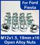 16x-X-1-5-M12-19mm-Hex-Abierto-Aleacion-Tuercas-de-Rueda-Para-Ford-Fiesta-Zinc miniatura 1
