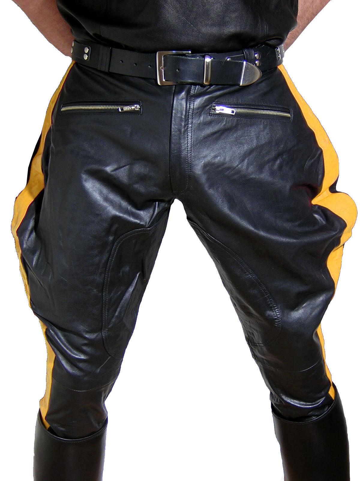 Lederhose strisce di Coloreeee gituttio Stivali Pantaloni nuovo breeches PANTALONI MOTO LEATHER PANTS nuovo