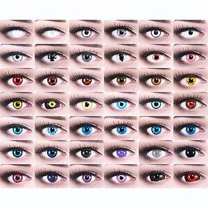 Farbige-Kontaktlinsen-Halloween-rote-weisse-Vampir-Zombie-crazy-Motivlinsen-Party