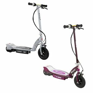 Razor-E100-Kid-Ride-On-24V-Motorized-Electric-Powered-Scooters-Silver-amp-Purple
