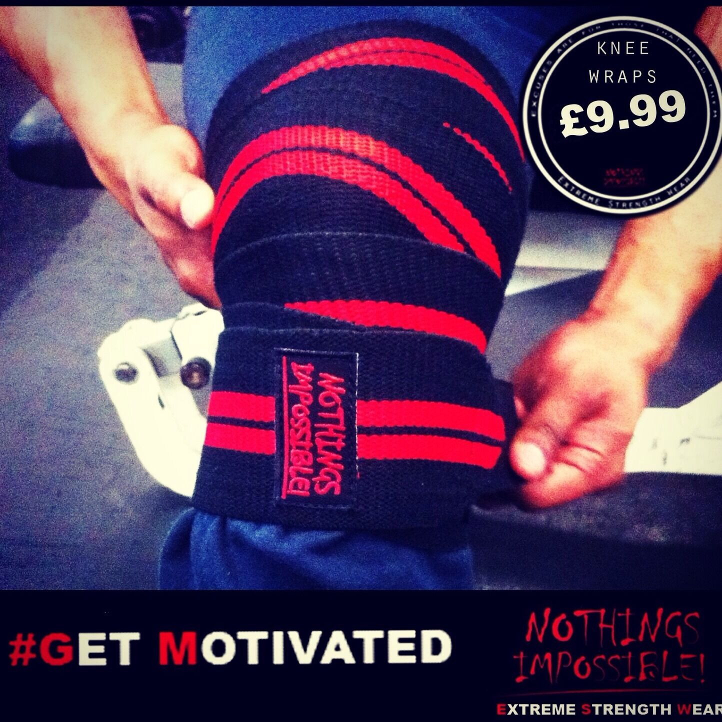 Powerlifting  Knee Wraps Pair Weightlifting Bodybuilding Gym Training strongman  up to 65% off