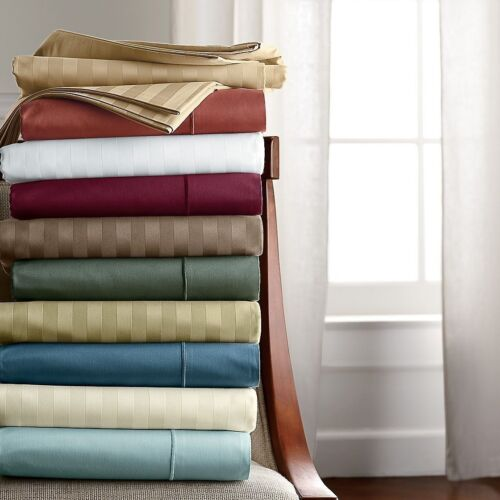Bedding Collection 1000TC Egyptian Cotton Choose Solid//Strip Color Olympic Queen