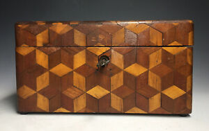 Antique-19th-C-Victorian-Wood-Marquetry-Inlaid-Sewing-Box-w-Key-Woodenware