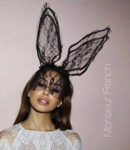 Image is loading BLACK-Lace-BUNNY-Rabbit-EARS-Headband-SAME-DAY-
