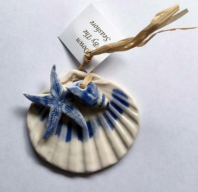 Blue Sky Pottery, Individually Hand Crafted Porcelain Blue Shell Ornament 0009