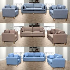 Prime Details About Sofas 3 2 1 Full Sofa Set With Cushion Fabric Sofa Blue Brown Gray Uk Seller Theyellowbook Wood Chair Design Ideas Theyellowbookinfo