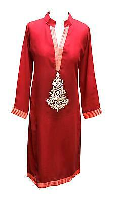 Women Indian Red with Black border cotton long tunic tops Kurtis Kurta 6076 UK