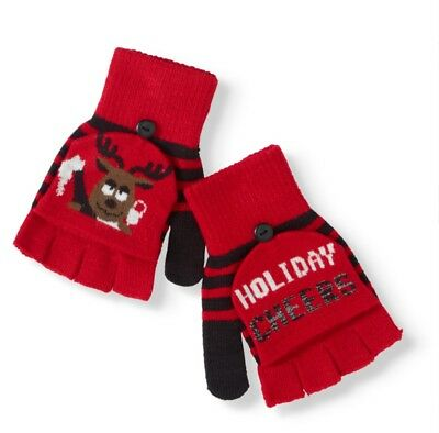 NEW Pop Top Gloves Cat Kitten and Antler Christmas Fold Over Convertible Mittens